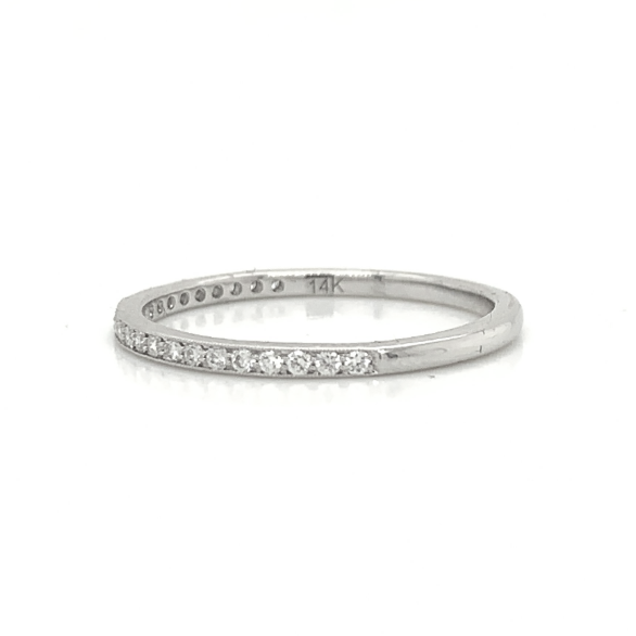 White Gold Petite Milgrain Pave Diamond Band