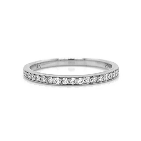 White Gold Medium Milgrain Pave Diamond Band