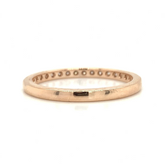Rose Gold Large Milgrain Pave Diamond Band