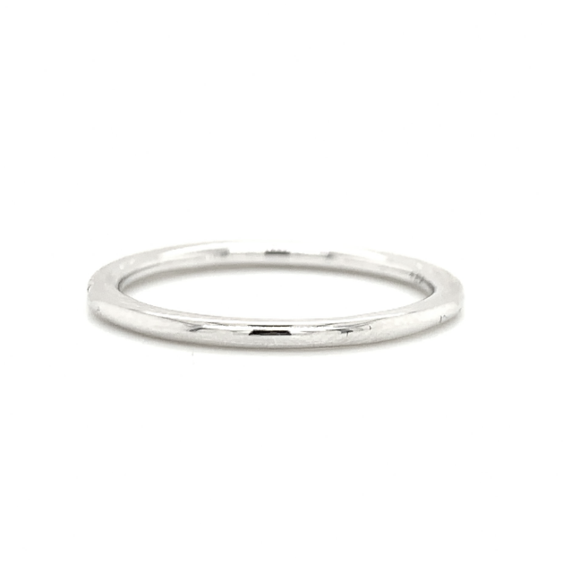 White Gold Petite Micro Fishtail Pave Diamond Band