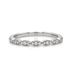 White Gold Petite 3 Stone Station Pave Diamond Band