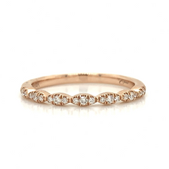 Rose Gold Petite 3 Stone Station Pave Diamond Band