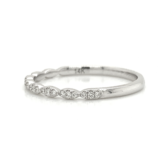 White Gold Ultra Petite 3 Stone Station Pave Diamond Band