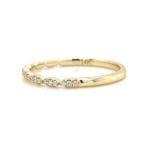 Yellow Gold Ultra Petite 3 Stone Station Pave Diamond Band