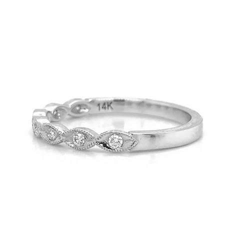 White Gold Petite Marquise Milgrain Diamond Band