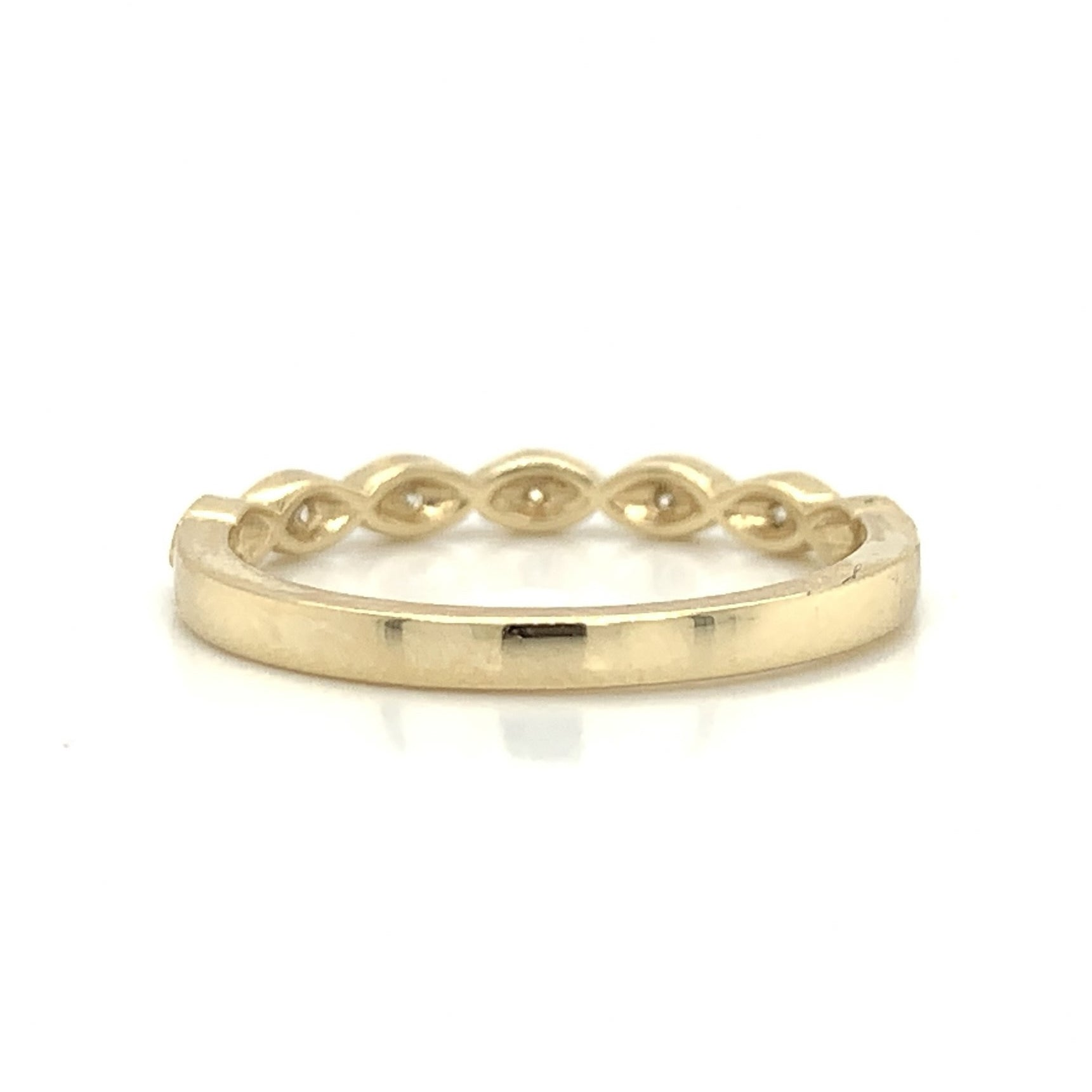 Yellow Gold Petite Marquise Milgrain Diamond Band