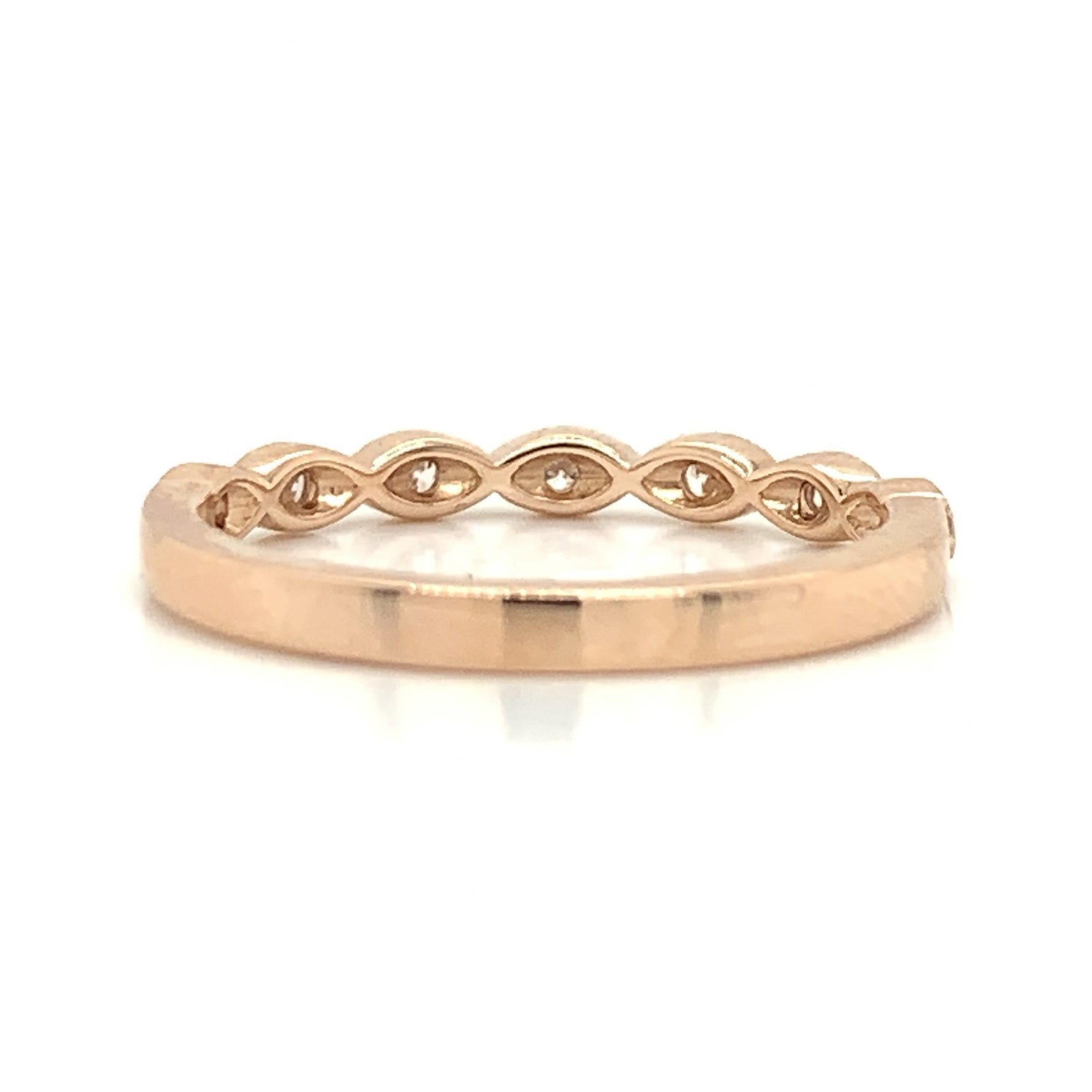 Rose Gold Petite Marquise Milgrain Diamond Band