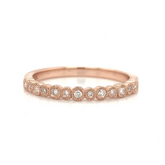 Yellow Gold Petite Bezel Set Alternating Diamond Band