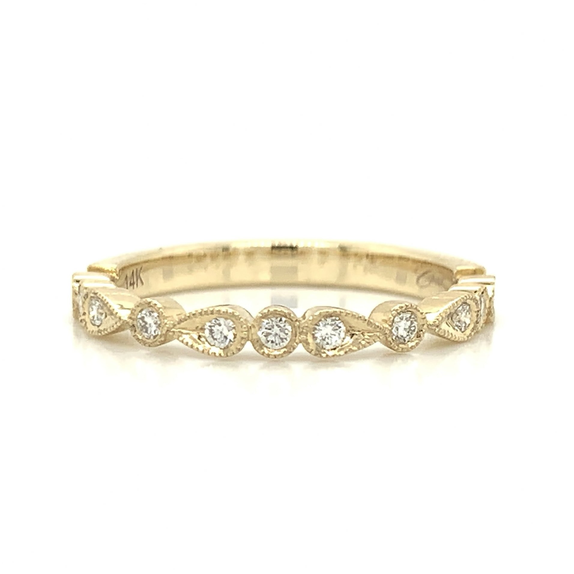 Yellow Gold Pear & Round Alternating Milgrain Pave Diamond Band