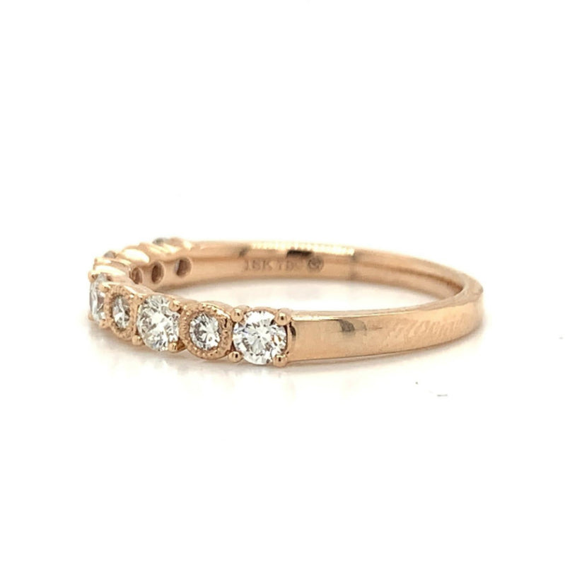 Rose Gold Prong & Bezel Set Alternating Diamond Band