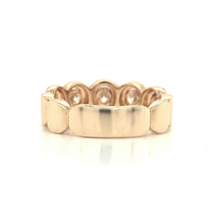 Rose Gold 5 Stone Halo Oval Illusion Pave Diamond Band