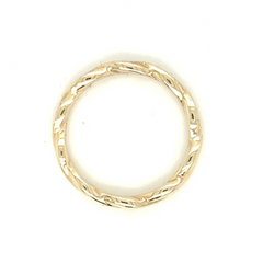 Yellow Gold Braided Twist Milgrain Pave Diamond Band