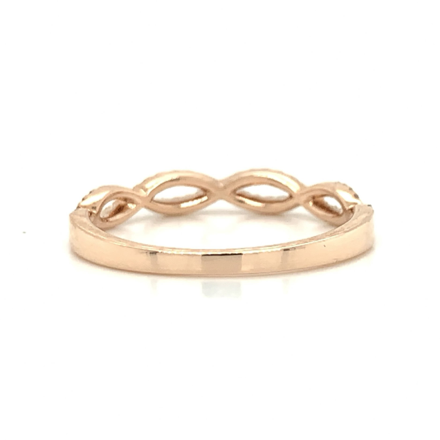 Rose Gold Open Space Twist Pave Diamond Band