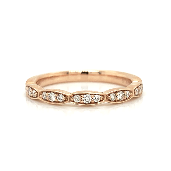 Rose Gold 3 Station Cluster Pave Diamond Band