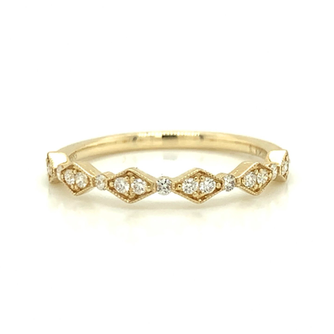 Yellow Gold Delicate Kite & Round Alternating Milgrain Diamond Band