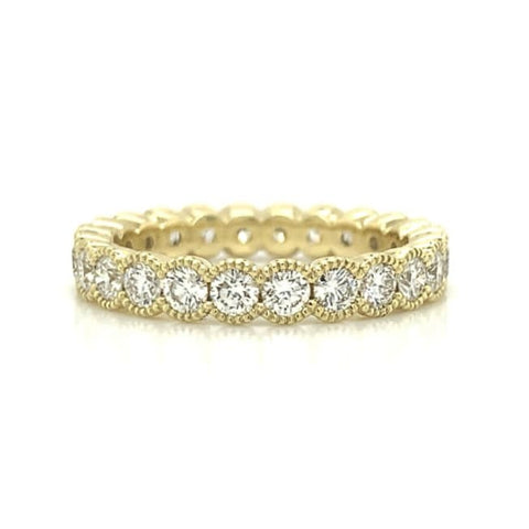 Yellow Gold Large 18K Milgrain Eternity Half Bezel Set Diamond Band