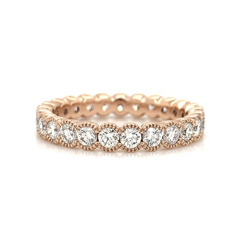 Rose Gold Large 14K Milgrain Eternity Half Bezel Set Diamond Band