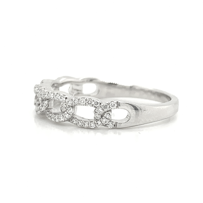 14K Gold Open Link Pave Diamond Band