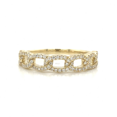Yellow Gold Open Link Pave Diamond Band