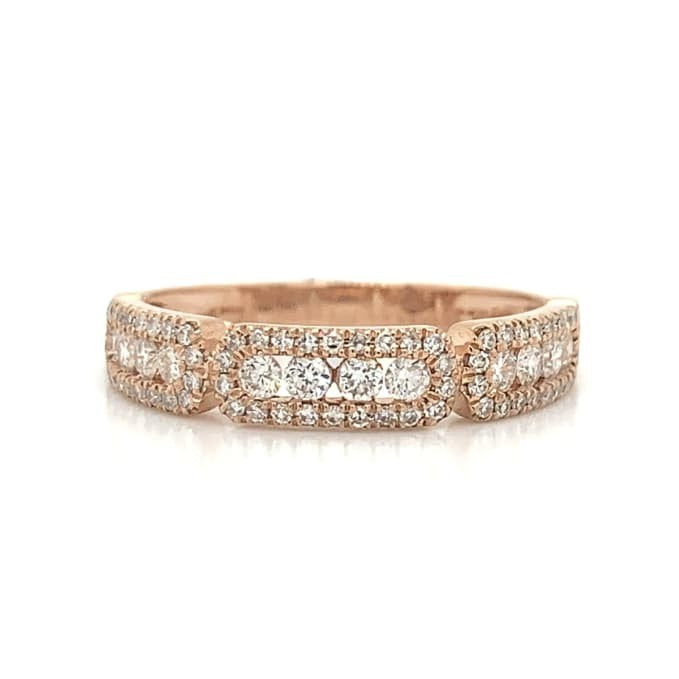 Rose Gold 3 Station Rectangle Channel & Pave Set Diamond Band