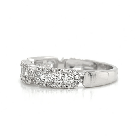 White Gold 3 Station Rectangle Channel & Pave Set Diamond Band