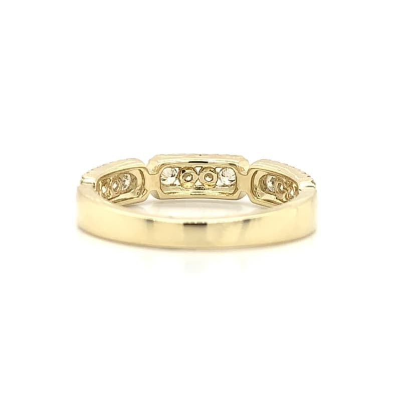 Yellow Gold 3 Station Rectangle Channel & Pave Set Diamond Band