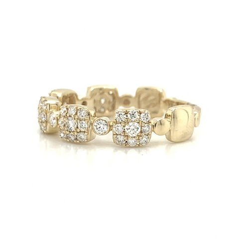 Yellow Gold Square Cluster Station & Round Bezel Set Diamond Band