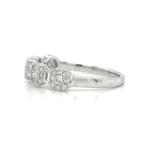 White Gold Asscher Cluster Station & Baguette Diamond Band