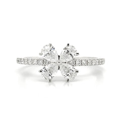 Pear Diamond Clover Prong Set Diamond Band