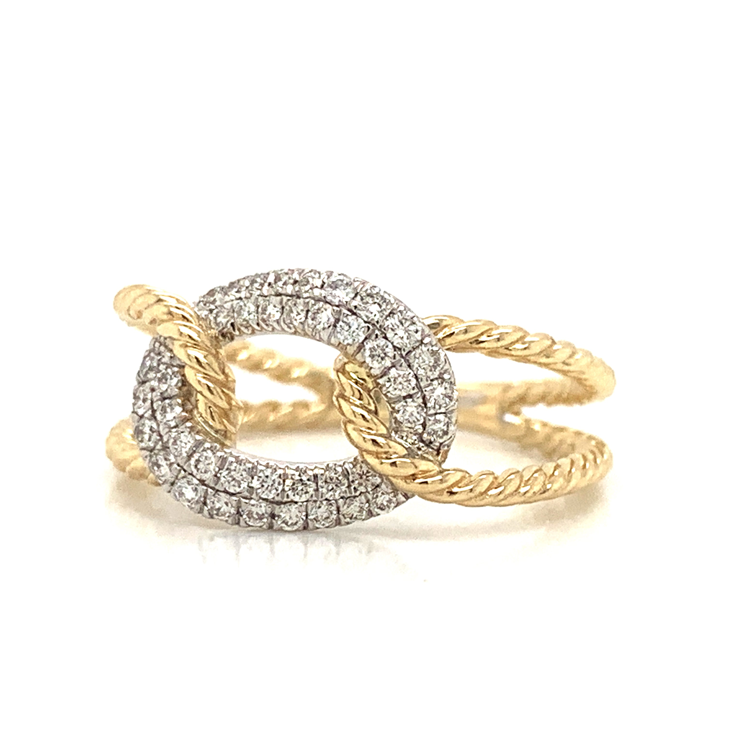 14K Large Two-Tone Open Knot Diamond Rope Band