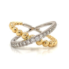 14K Two-Tone Crossover X Diamond Beaded Band