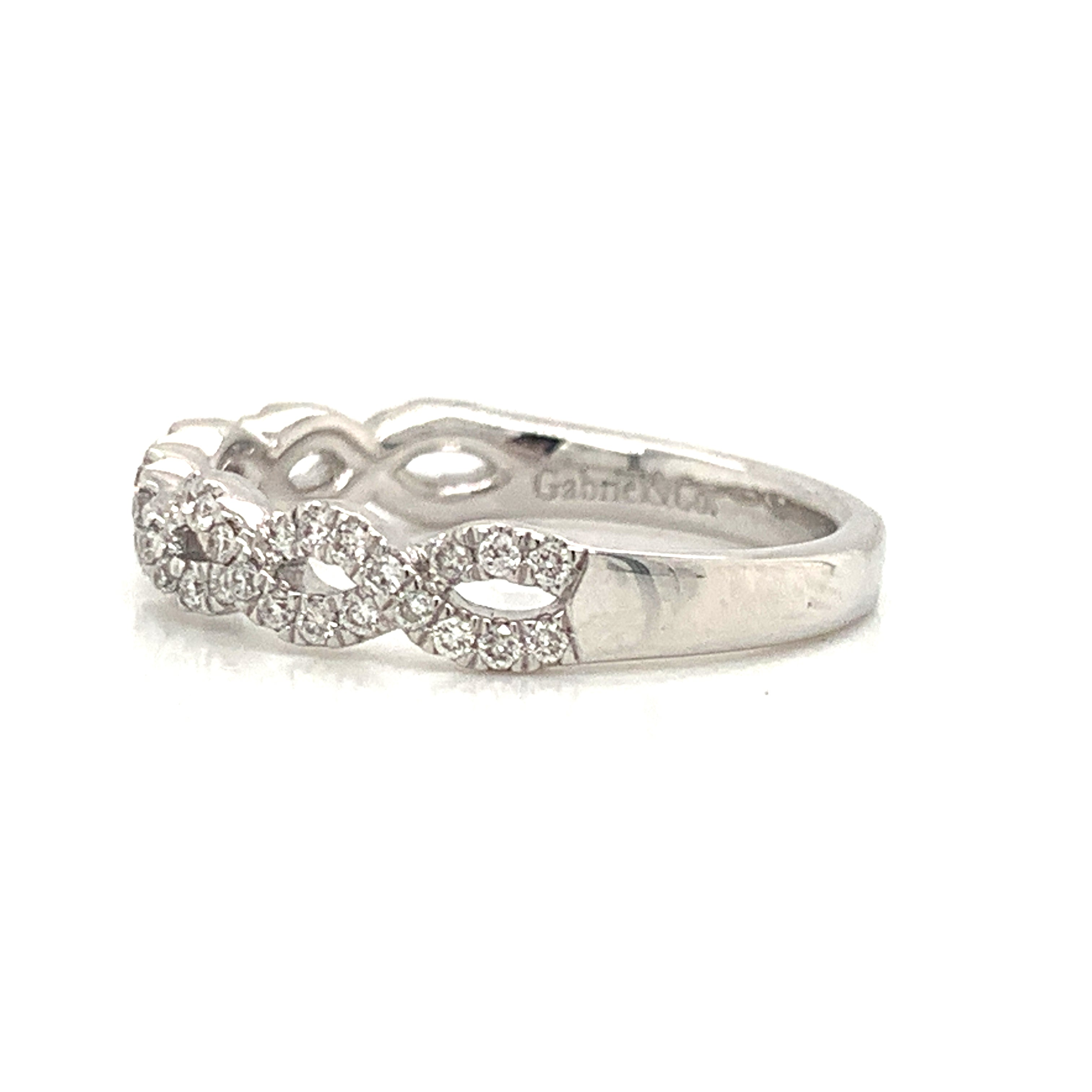 Tightly Twisted Open Delicate Pave Diamond Band