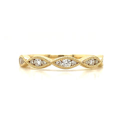 Three Stone Station Marquise Milgrain Diamond Band
