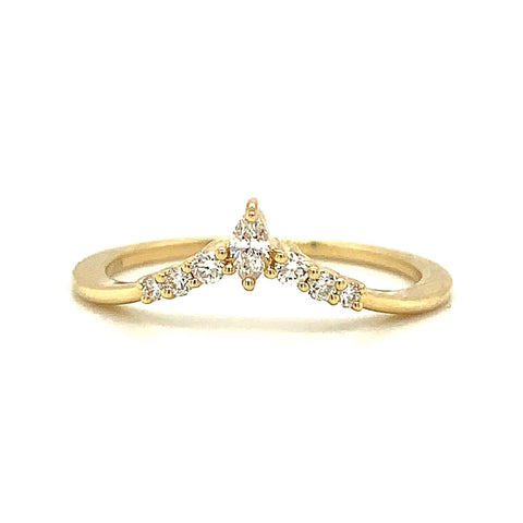 Marquise Point Prong Set Diamond Tracer Band