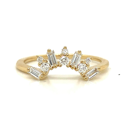 Sunburst Round & Baguette Prong Set Diamond Tracer Band