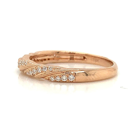 Milgrain Rope Twist Pave Diamond Band