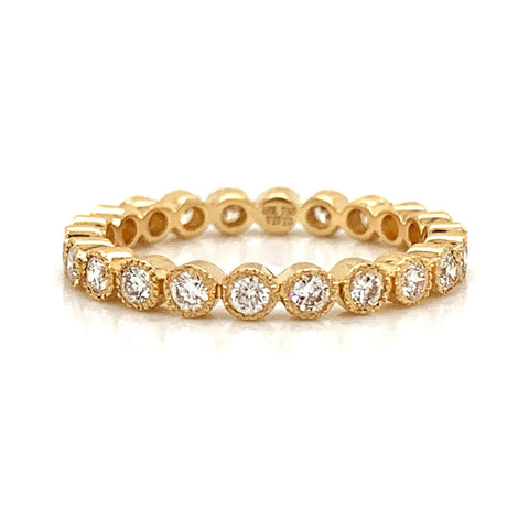 18K Milgrain Bezel Set Eternity Diamond Band