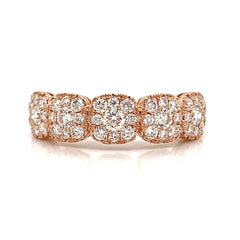 5 Station Cushion Illusion Pave Diamond Band