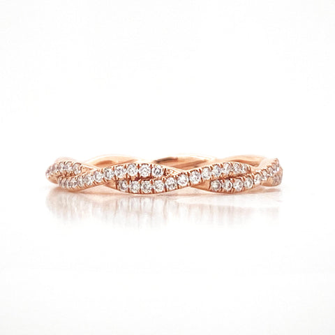 Delicate Tightly Twisted Pave Diamond Band