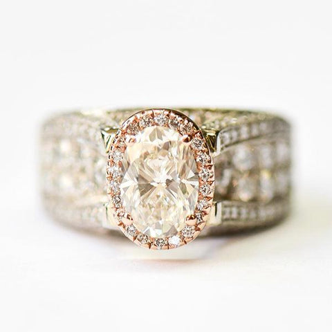 Rose & Platinum Wide Oval Halo with Pave Underpass