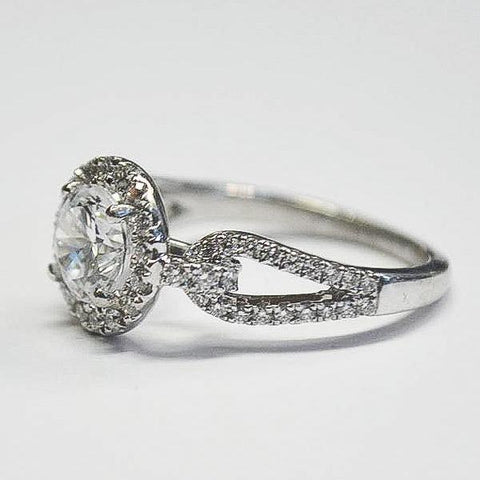 Passion Platinum Halo with Open Tear Drops Engagement Ring with Diamonds