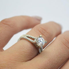 Platinum Split Shank with Diamonds
