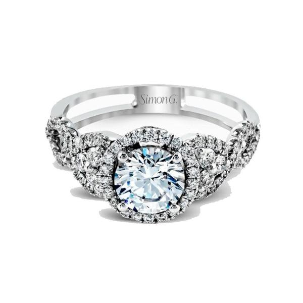Passion Platinum Halo Twist Cluster Engagement Ring with Diamonds