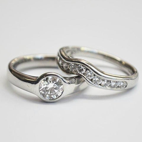 Platinum Bezel & Channel Wedding Set