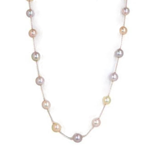 Rose Mutli Color Pink Pearl Station Necklace