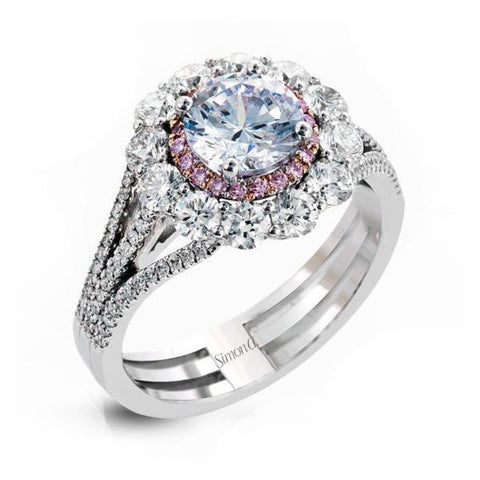 Passion Platinum Double Halo with Row of Pink Diamonds Engagement Ring with Diamonds