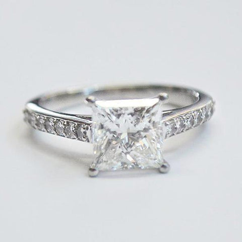 Platinum Classic Pave with Princess Cut Diamond