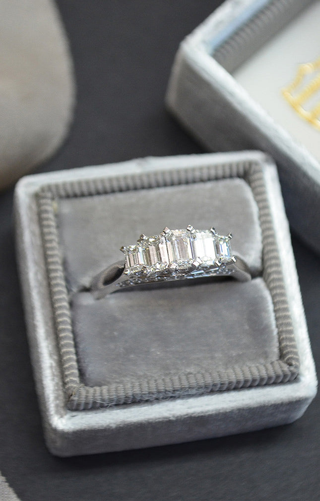 Platinum 5 Stone Baguette Engagement Ring