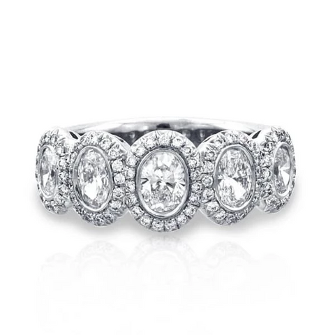 Oval Halo Platinum Band