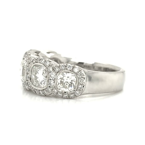 Platinum 5 Stone Cushion Halo Platinum Diamond Band